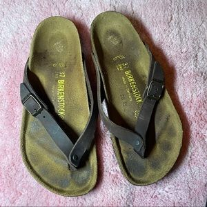 Brown Leather Birkenstock Sandals Size 37